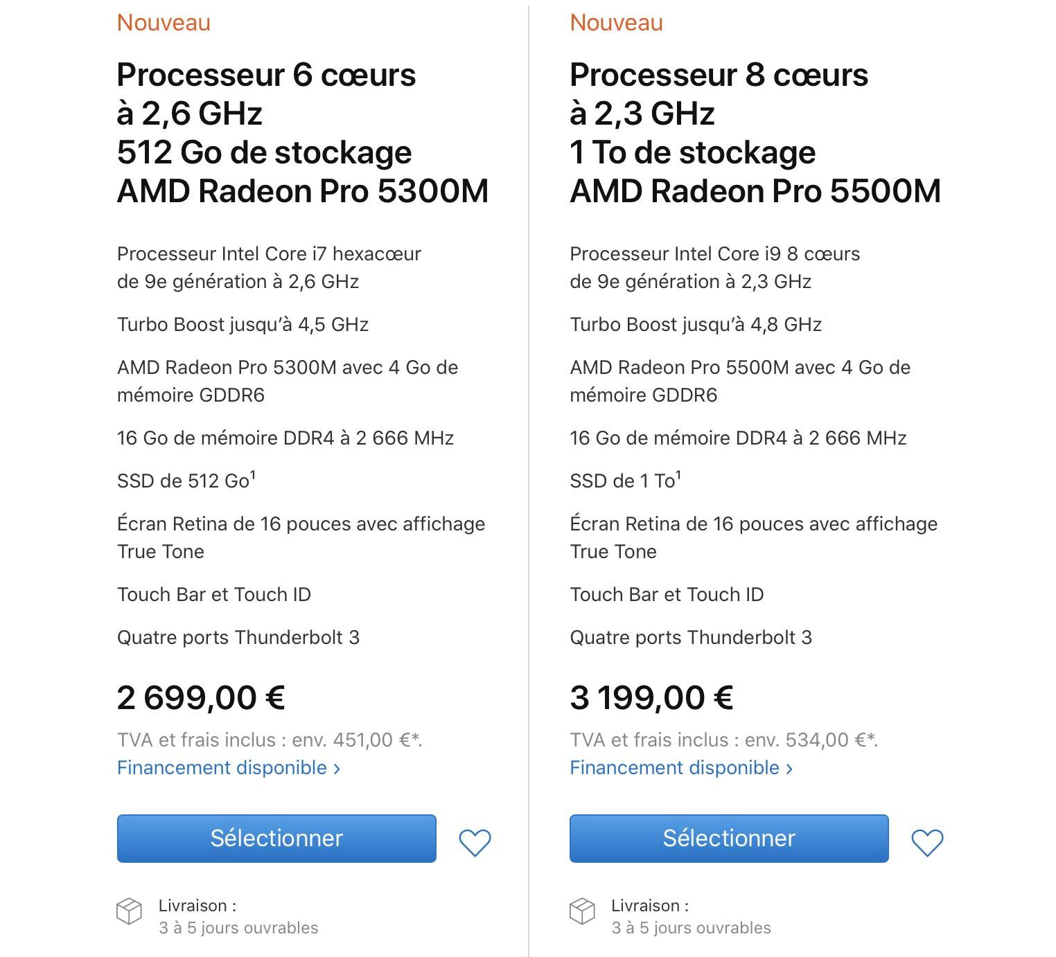 MacBook Pro 16 pouces caractéristiques techniques gamme