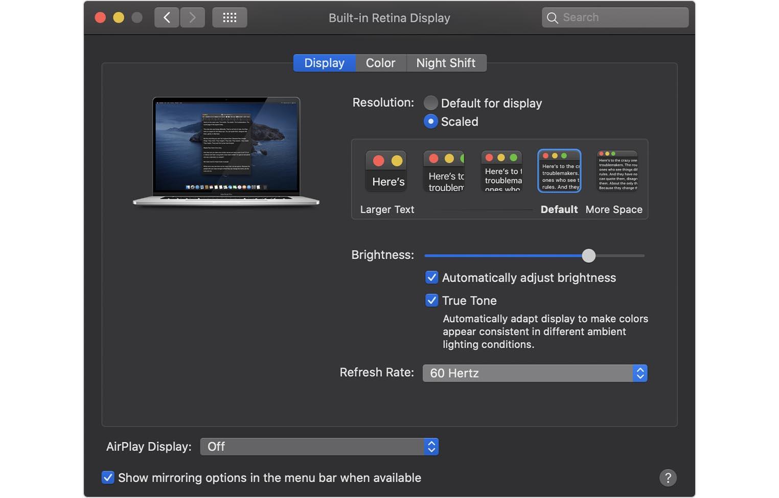 MacBook Pro 16 pouces rafraichissement écran