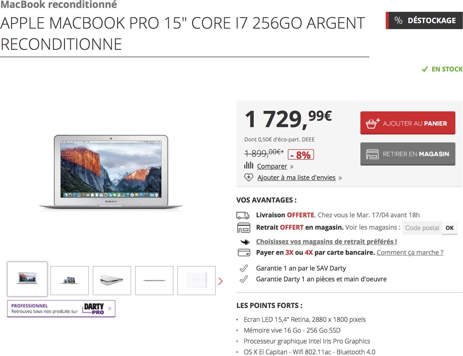 MacBook Pro Darty