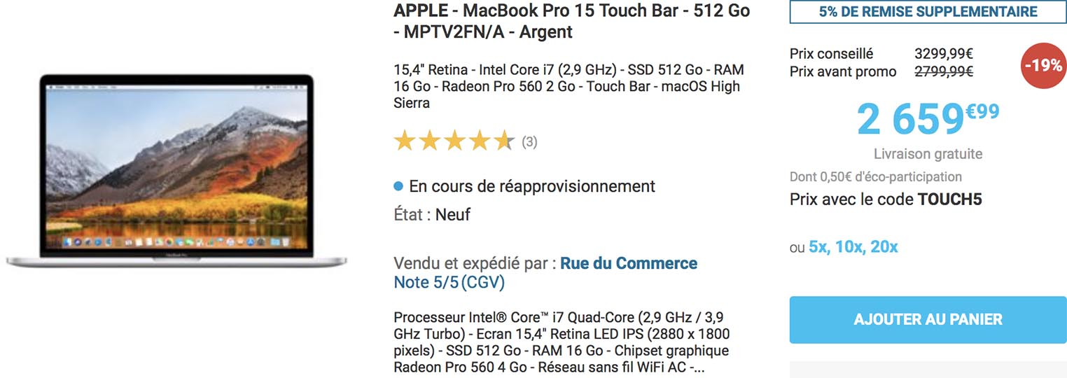 MacBook Pro 15 Rue du Commerce