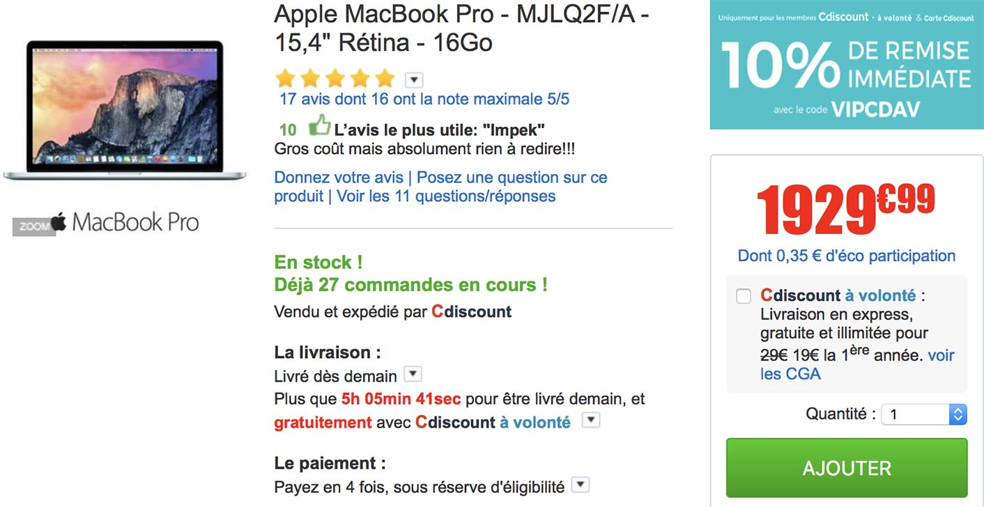 MacBook Pro 15 promo CDiscount