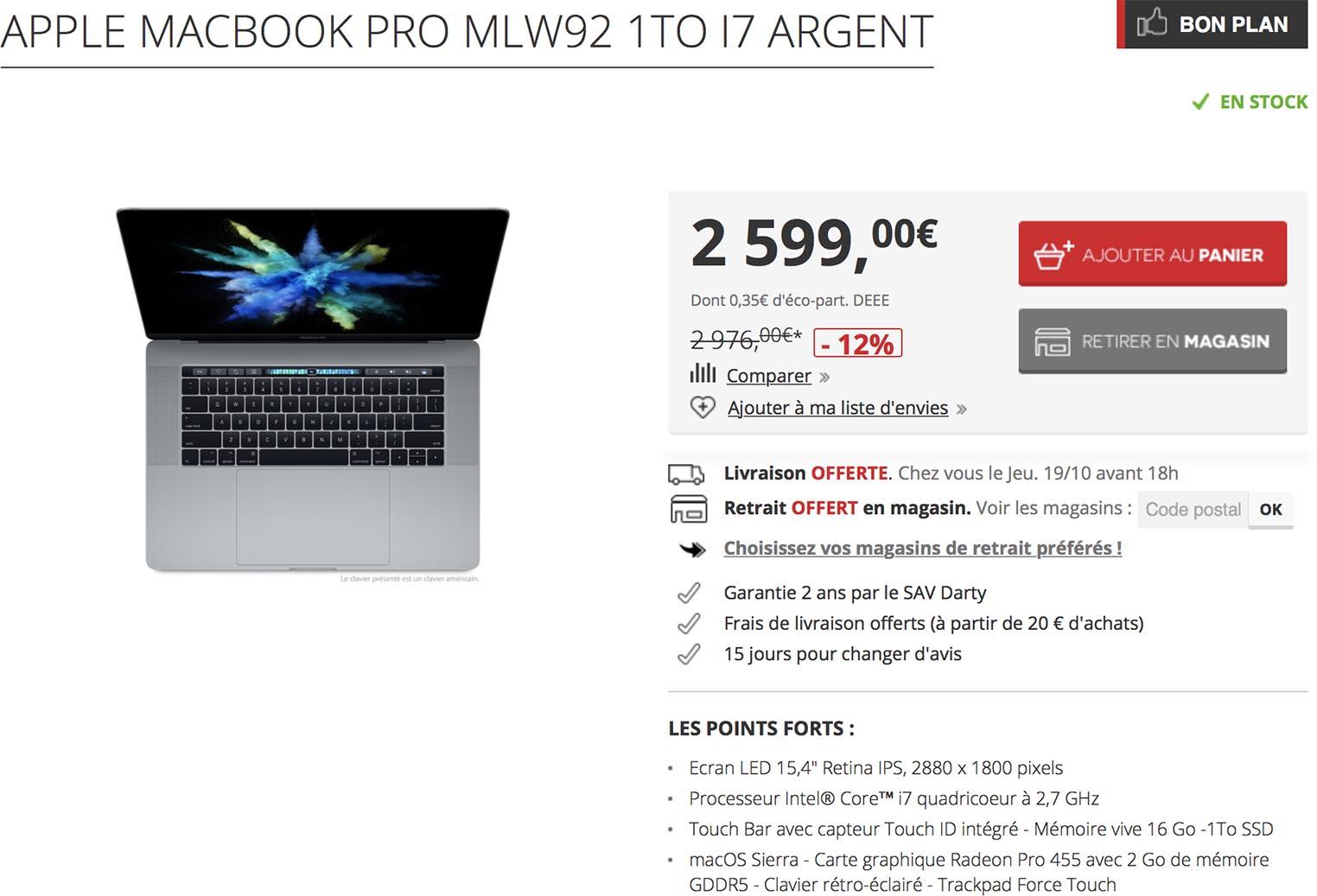 MacBook Pro promo Darty