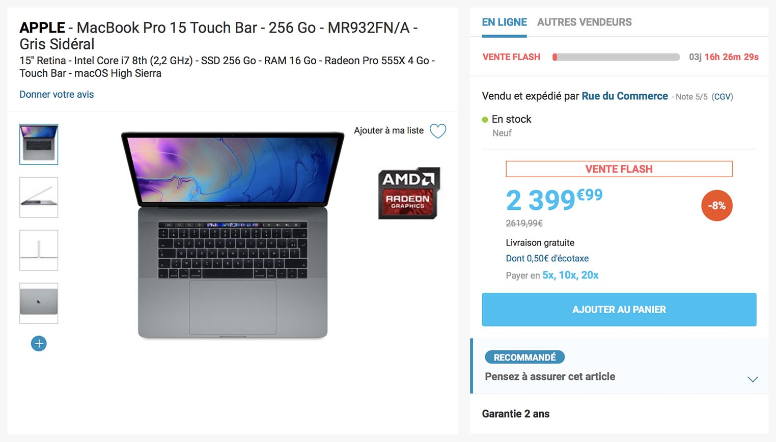 MacBook Pro 2018 vente flash Rue du Commerce