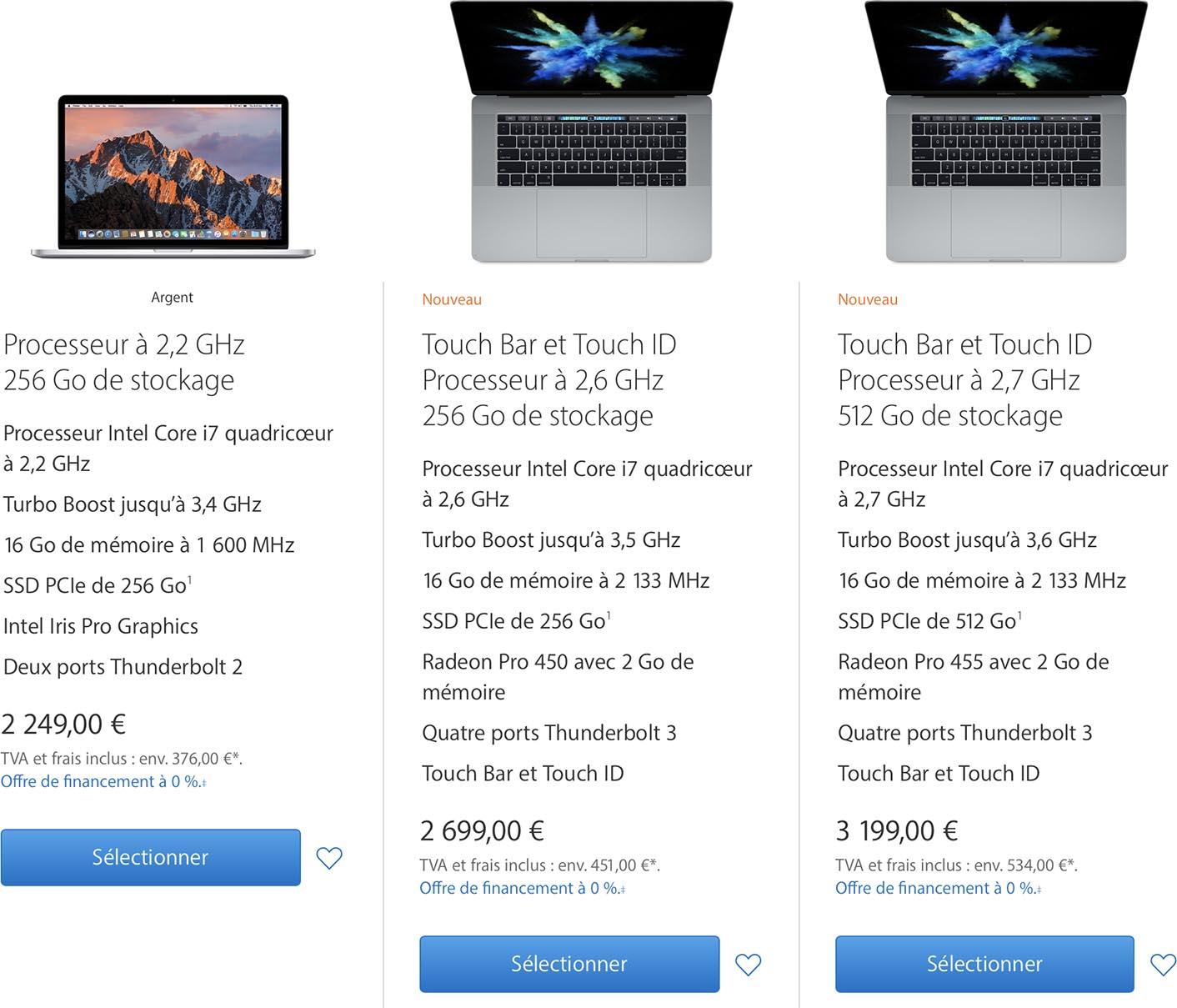 Comparer MacBook Pro 2015 et 2016