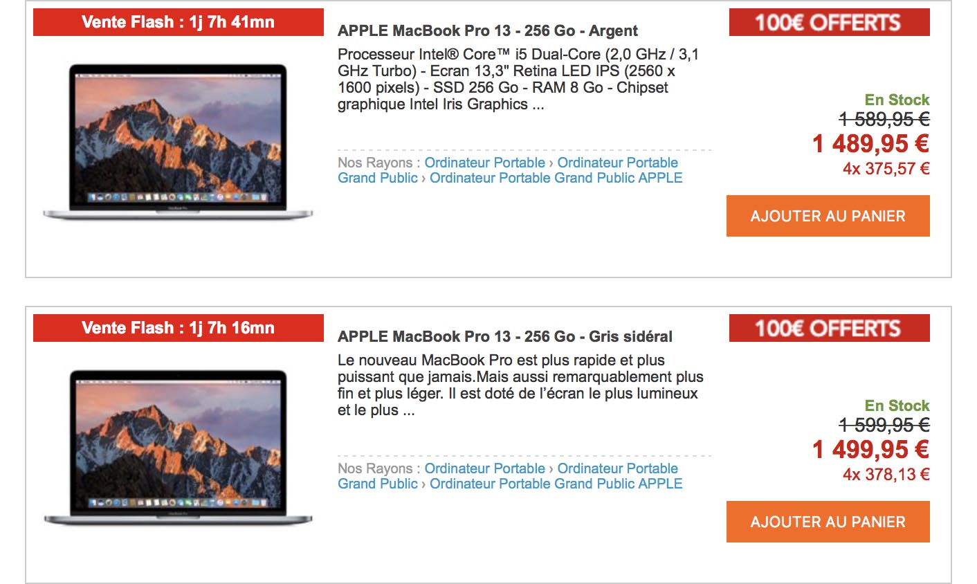 MacBook Pro 2016 promo Rue du Commerce