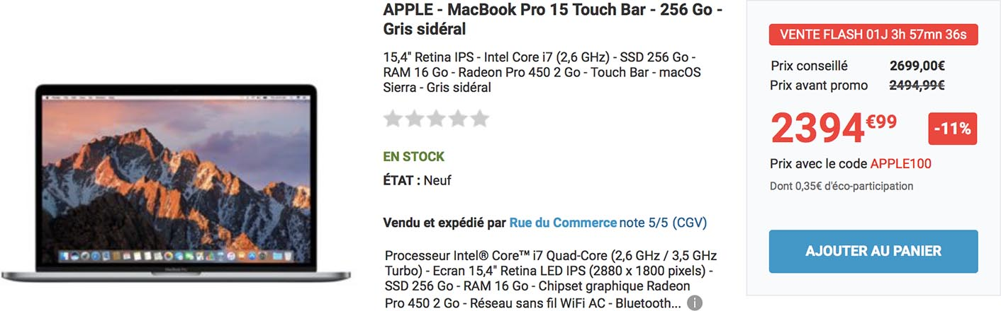 MacBook Pro vente flash Rue du Commerce