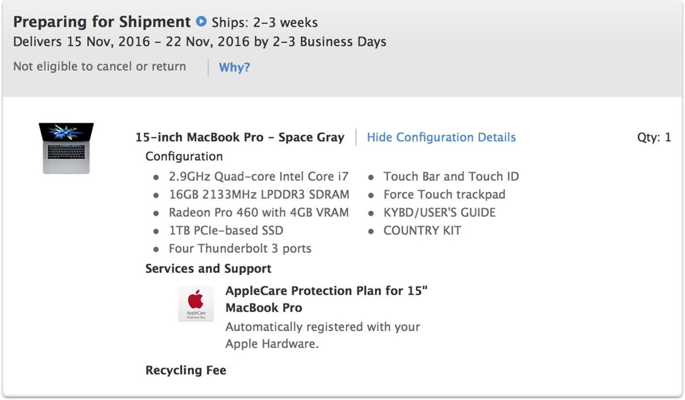 MacBook Pro 2016 préparation d'expédition