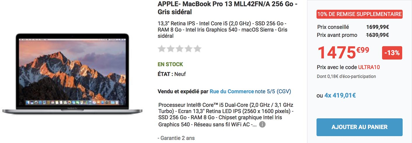 MacBook Pro 2016 promo Rue du Commerce