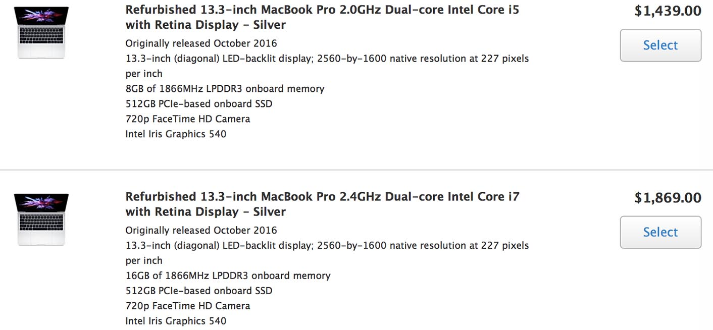 MacBook Pro 2016 Refurb américain