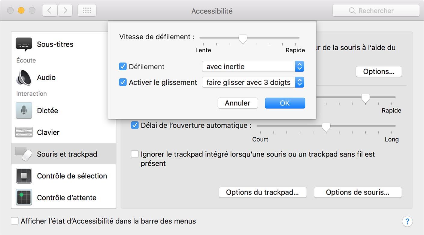 MacBook Pro trackpad accessibilité