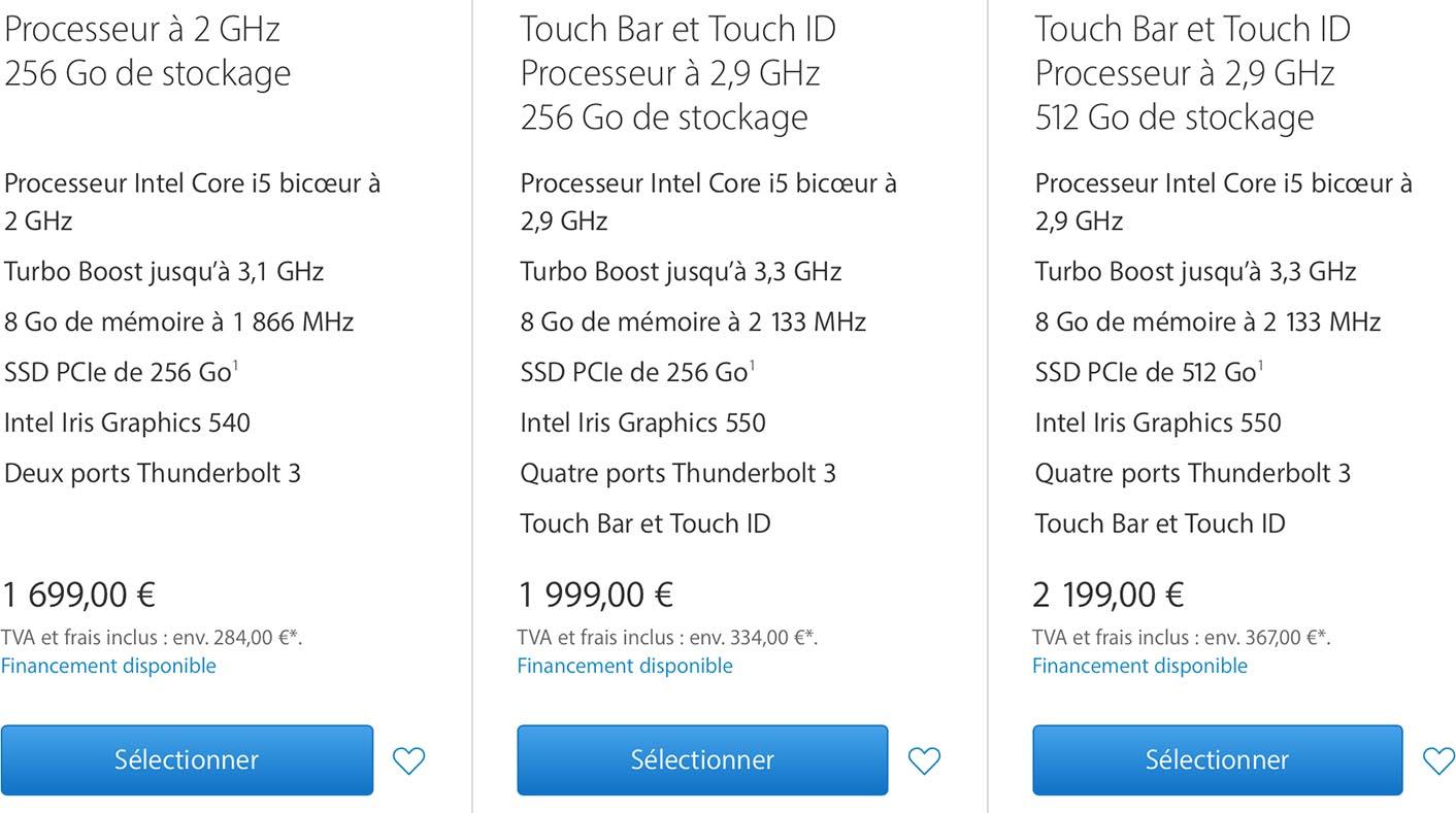 MacBook Pro 2016 tarifs