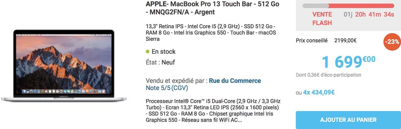 Vente flash MacBook Pro 2017 Rue du Commerce