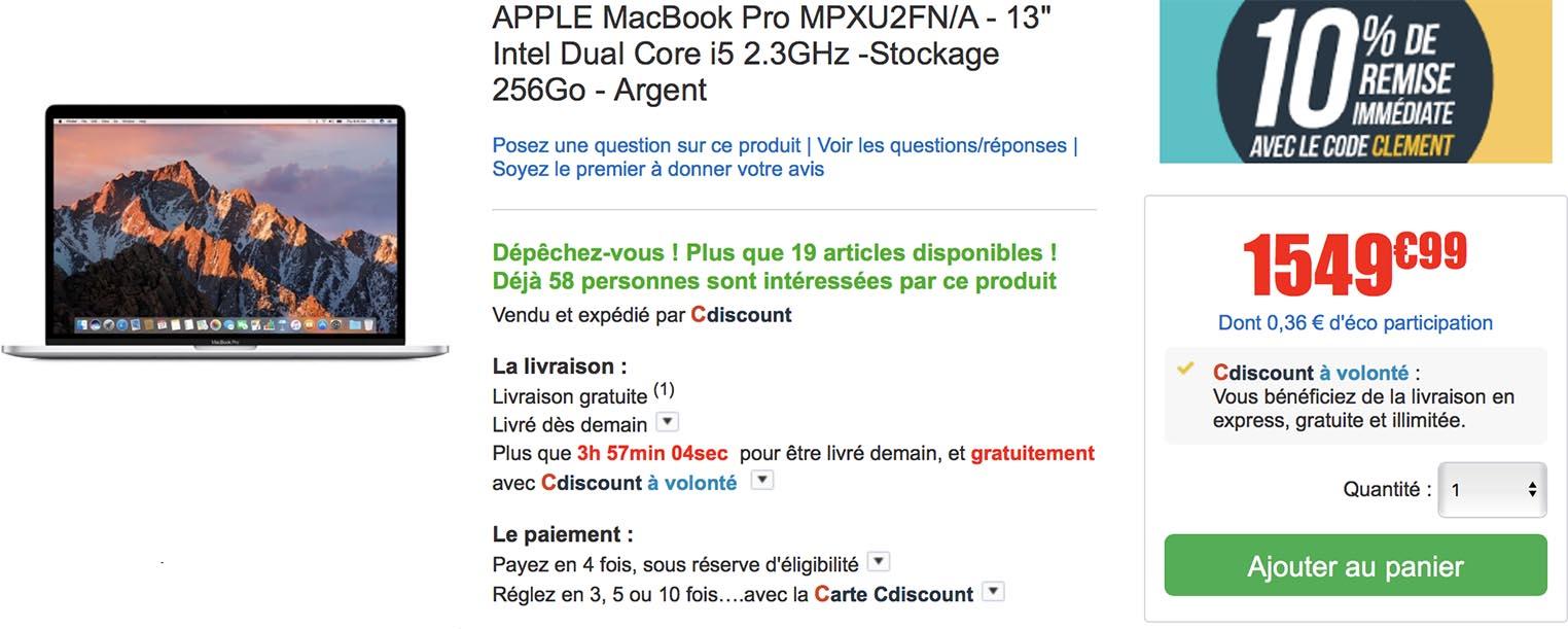 MacBook Pro CDiscount