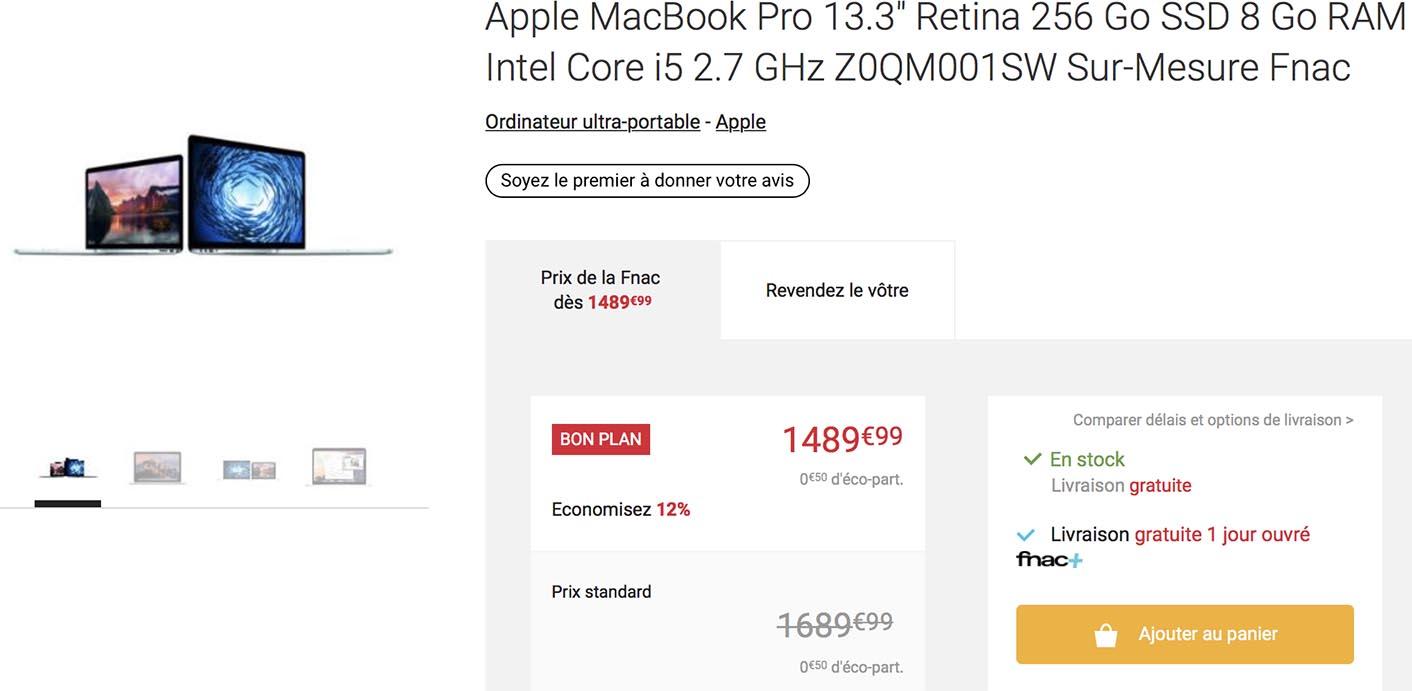 MacBook Pro 256 Go Fnac