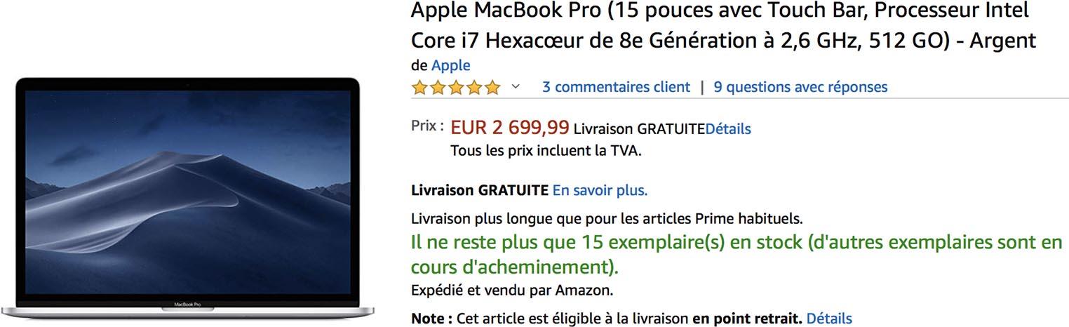MacBook Pro 15 pouces Amazon