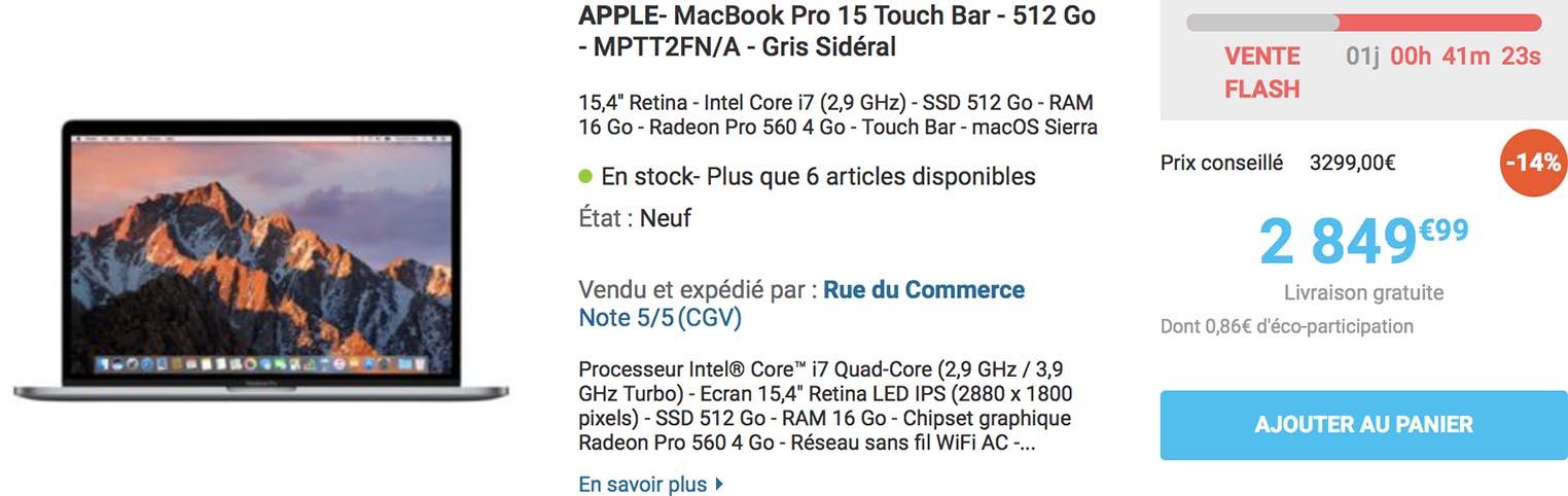 Vente flash MacBook Pro Rue du Commerce