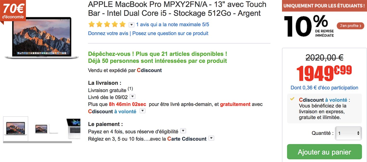 MacBook Pro étudiants CDiscount