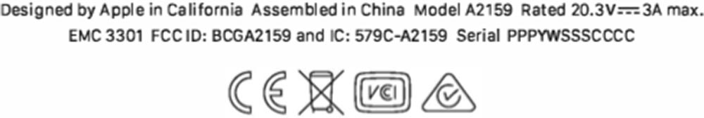 MacBook Pro FCC A2159
