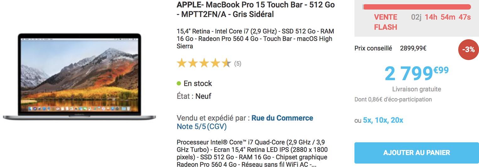 MacBook Pro vente flash Rue du Commerce