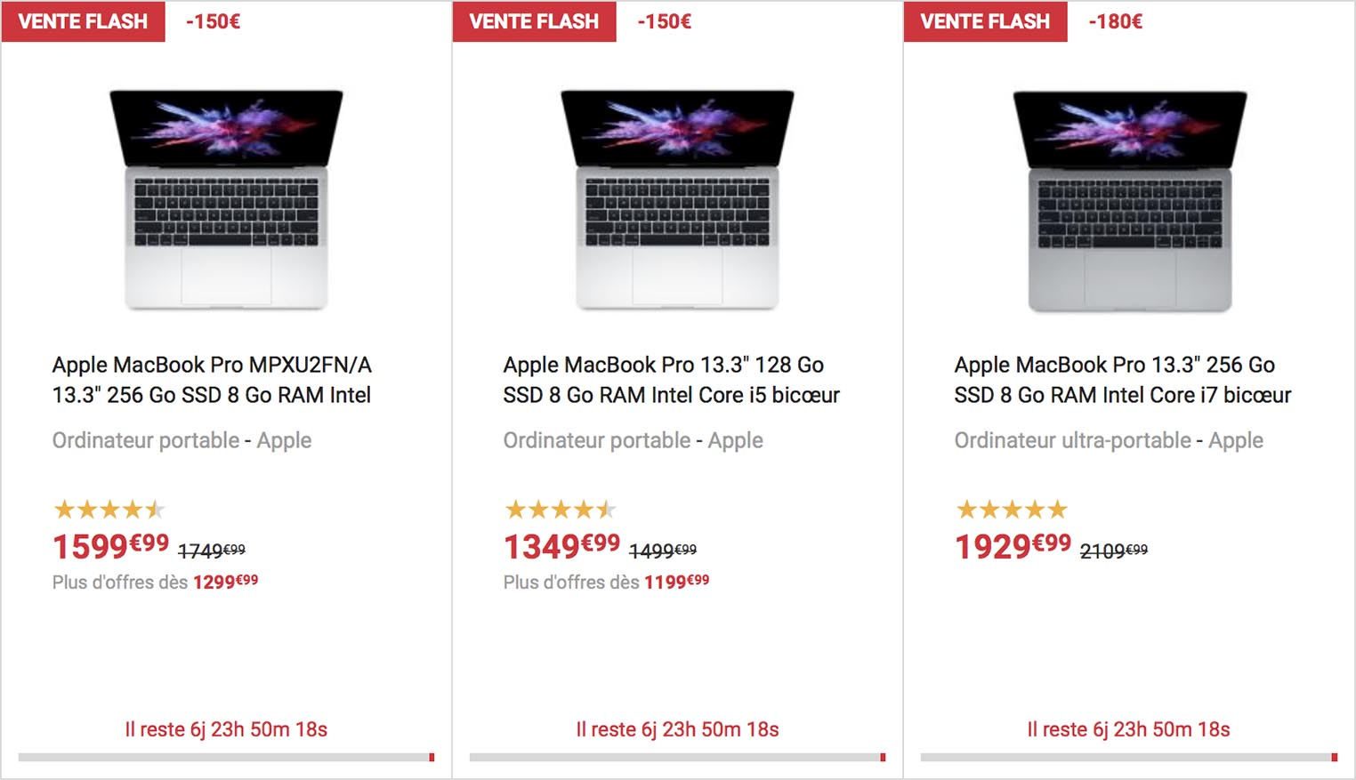 Vente flash MacBook Pro Fnac