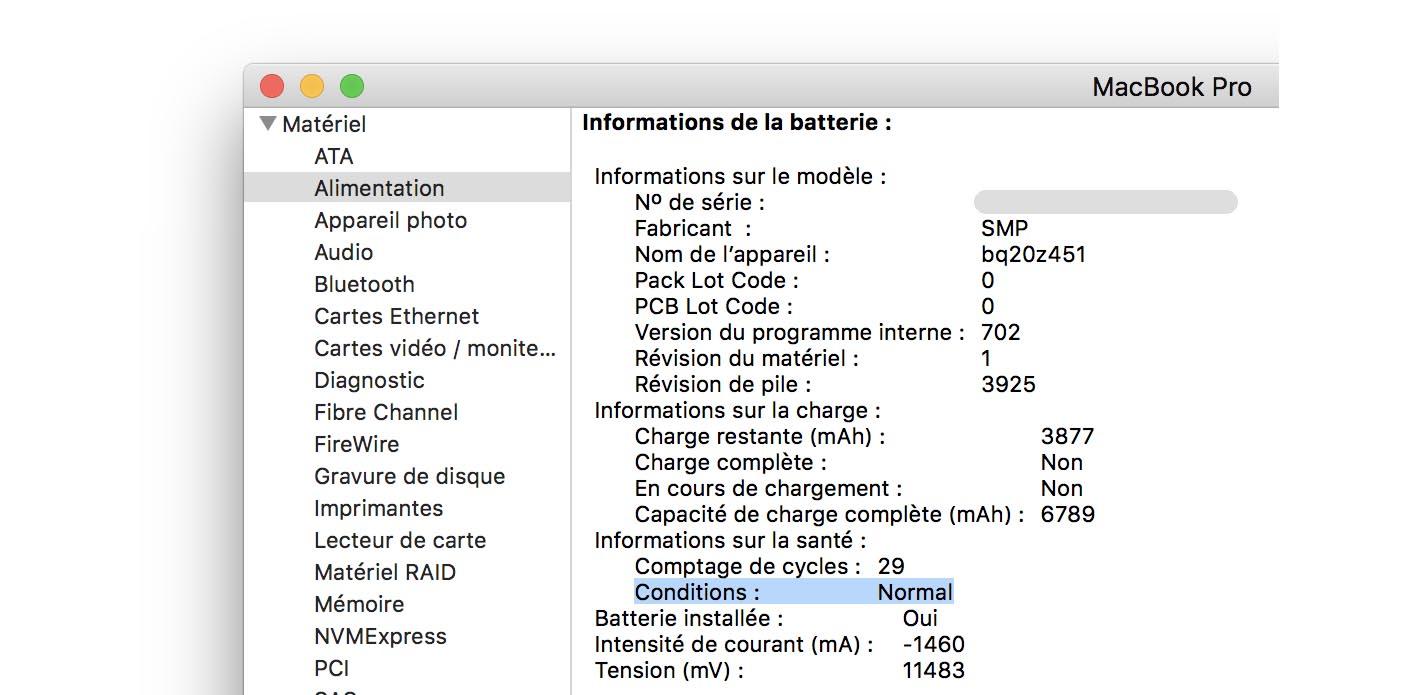 MacBook Pro indicateur batterie défectueuse