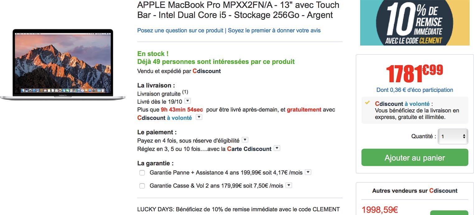 MacBook Pro promo CDiscount