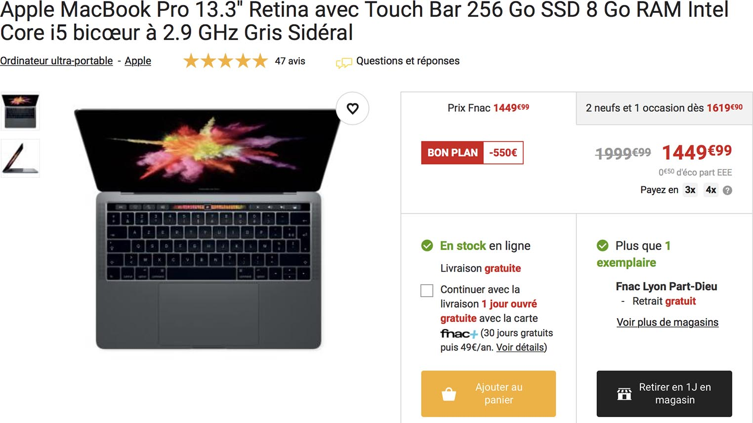 MacBook Pro promo Fnac