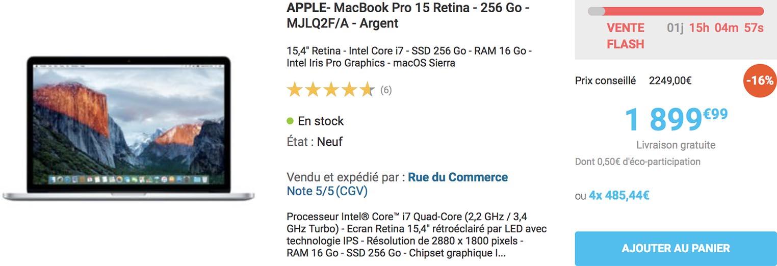 MacBook Pro 2015 Rue du Commerce