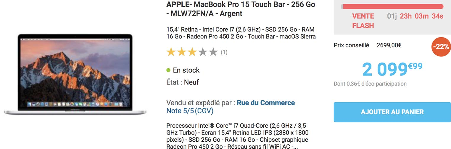 MacBook Pro 15 Rue du Commerce