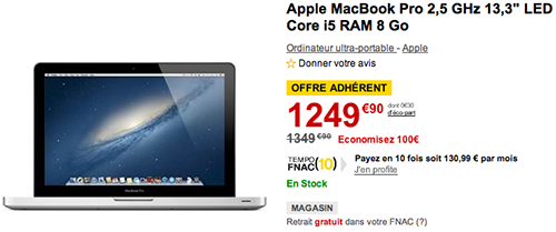 bonplan  macbook pro bonne affaire a la fnac