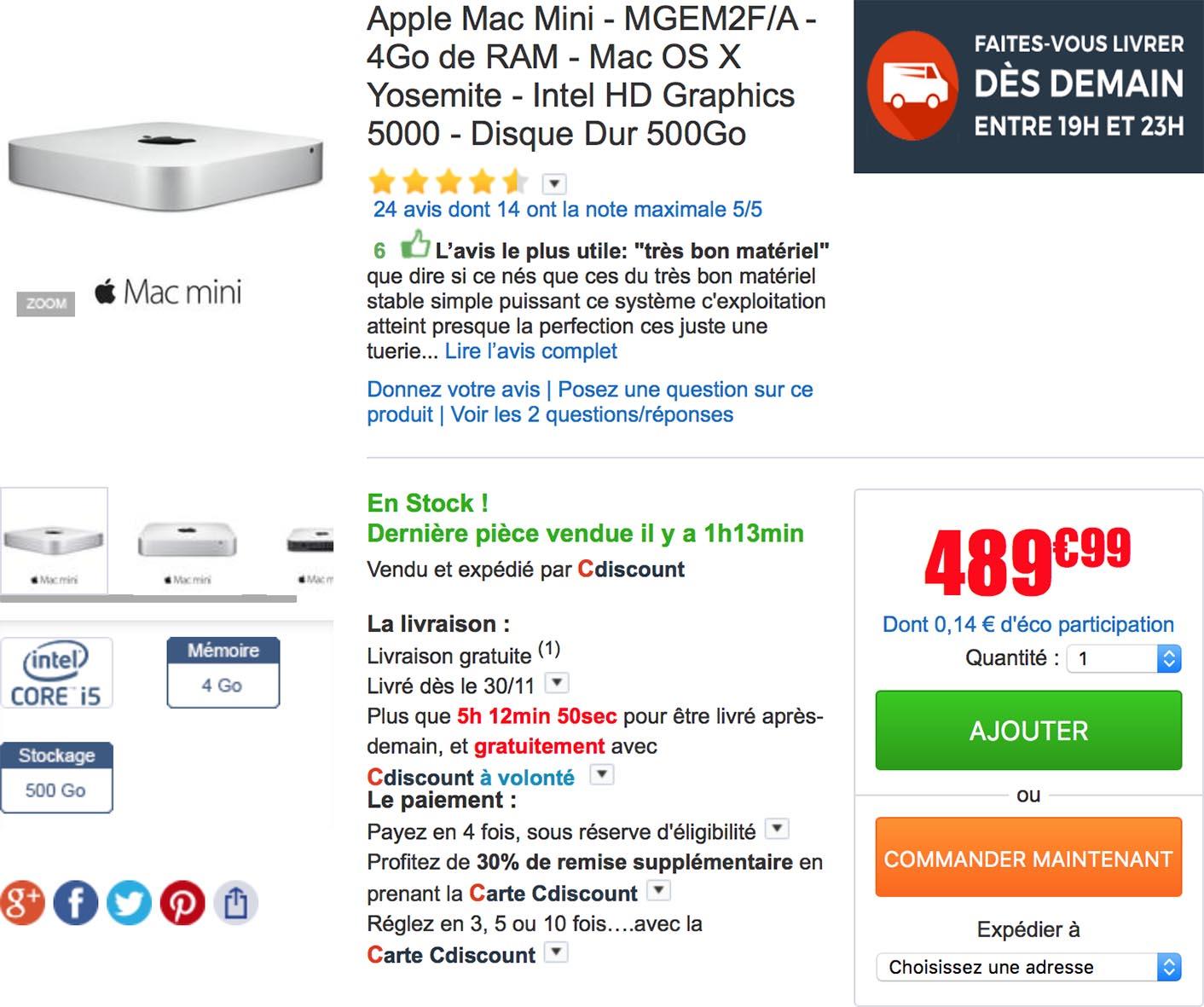 Apple MacMini i5 1.4/4GB/500GB/Intel HD5000 (MGEM2RU/A)