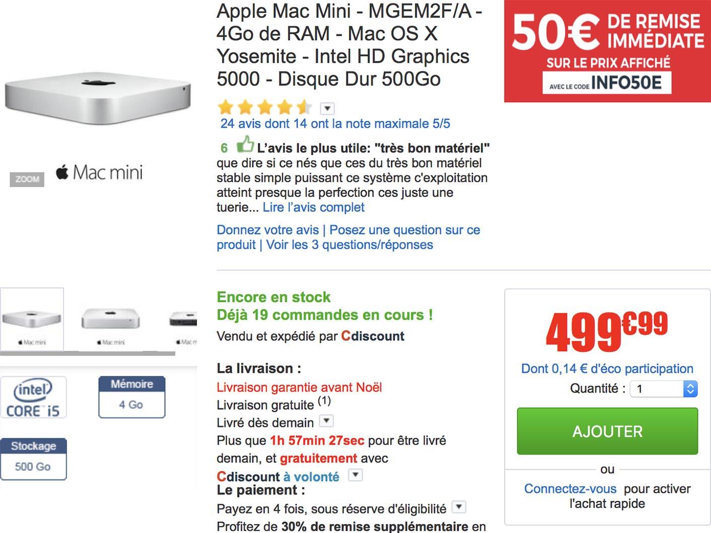 Mac mini promo CDiscount