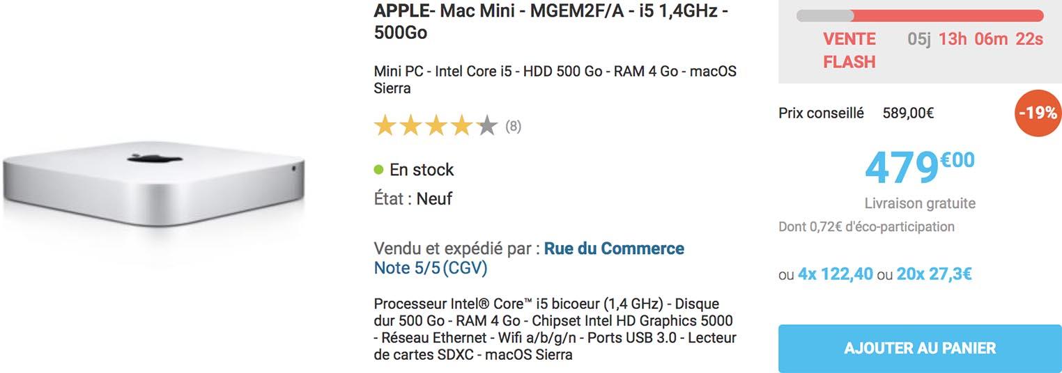 Mac mini vente flash Rue du Commerce
