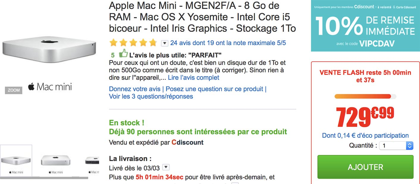 Vente flash Mac mini CDiscount