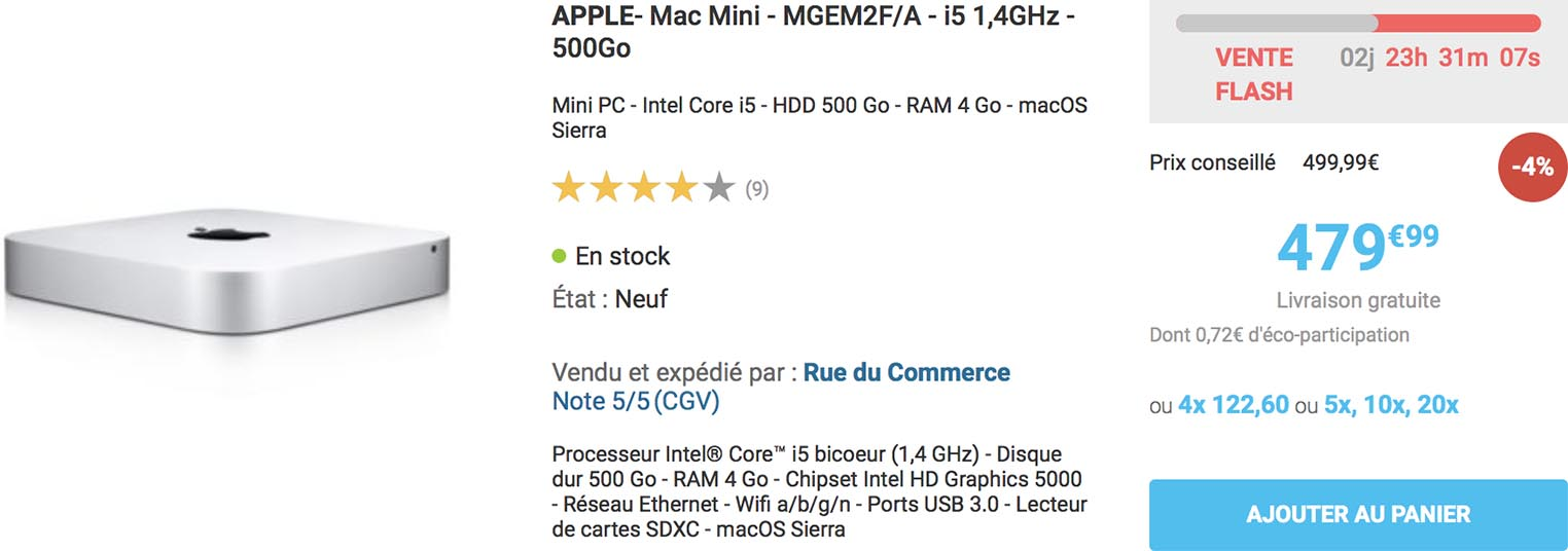 Vente flash Mac mini Rue du Commerce