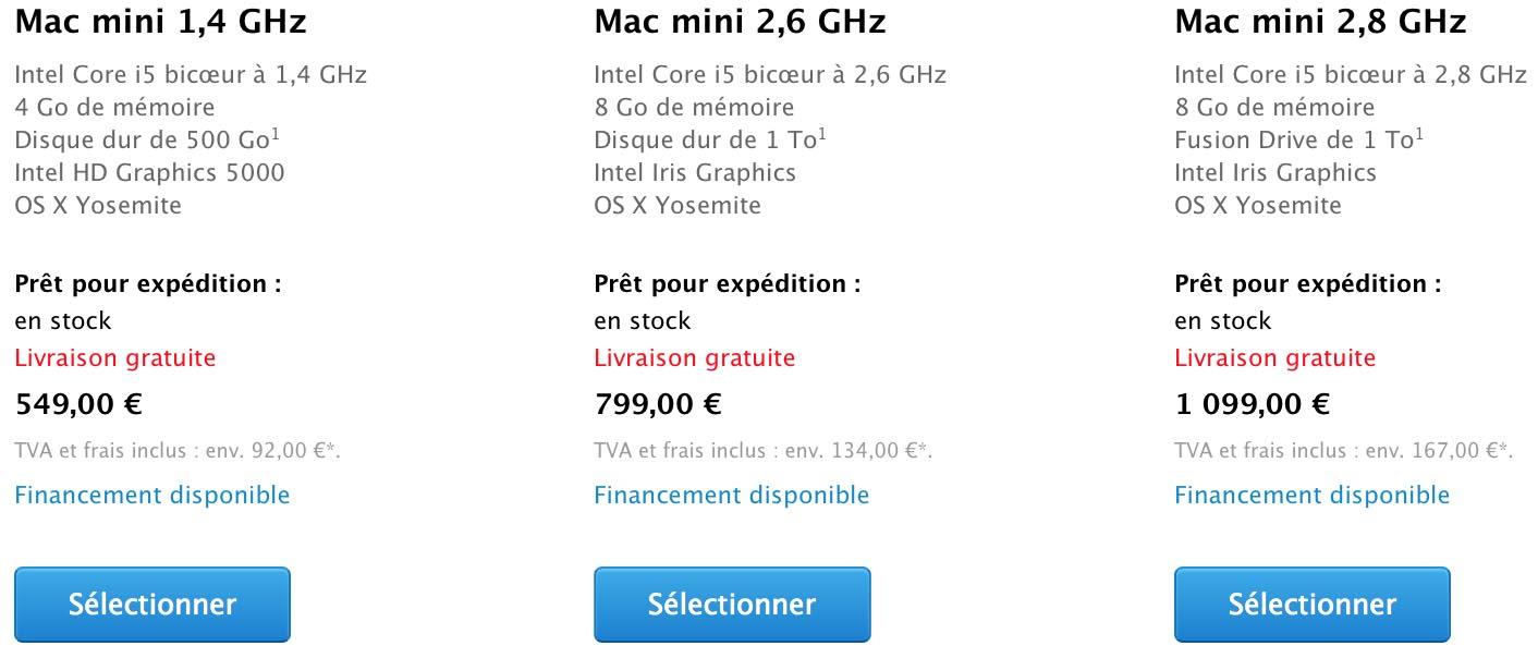 Mac mini tarifs 2015