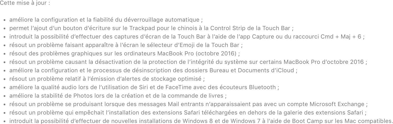 macOS 10.12.2 nouveautés