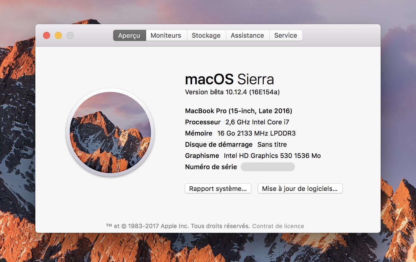 macOS 10.12.4 Bêta 2