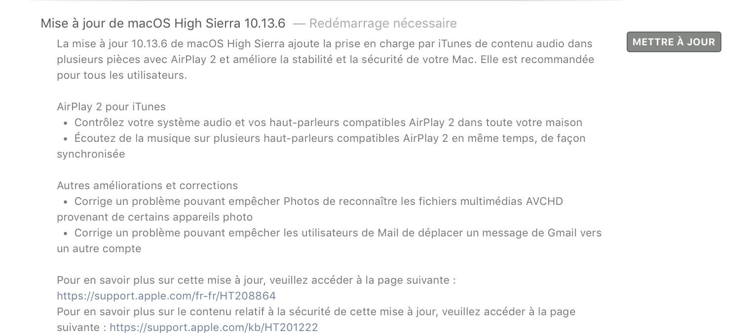 macOS 10.13.6 disponible