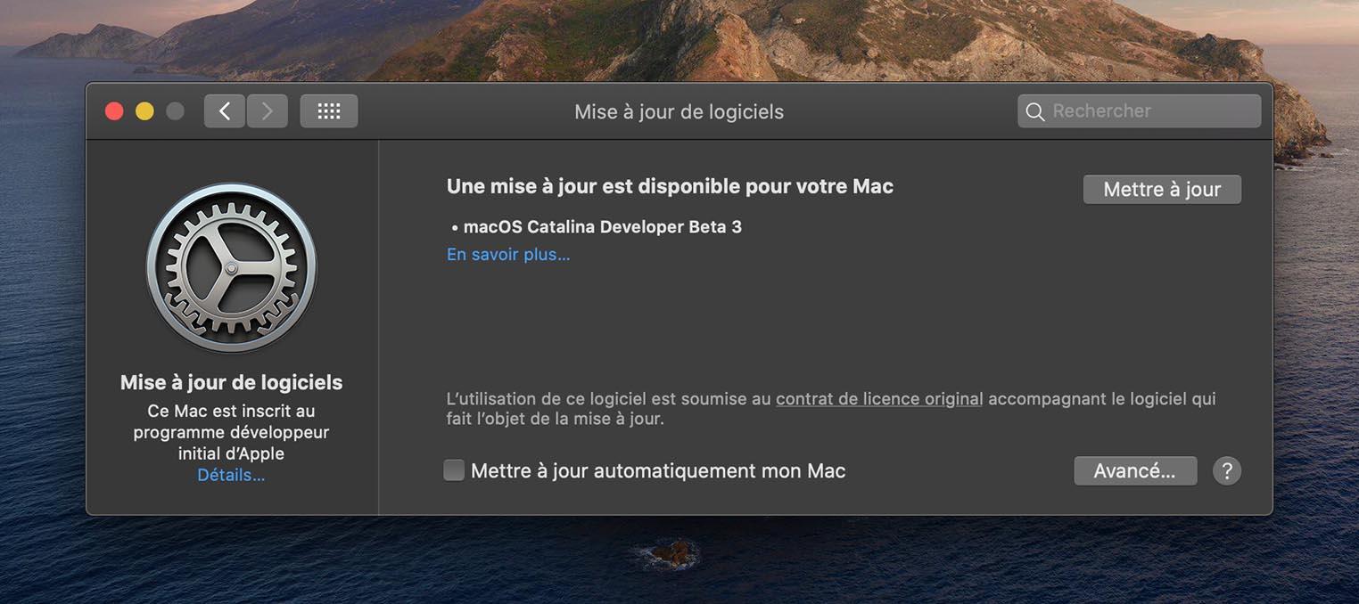 macOS 10.15.1 Bêta 3