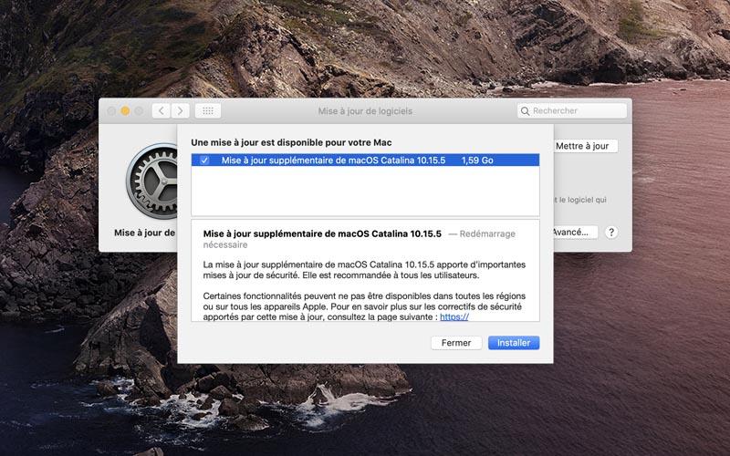Une mise à jour supplémentaire pour macOS 10.15.5