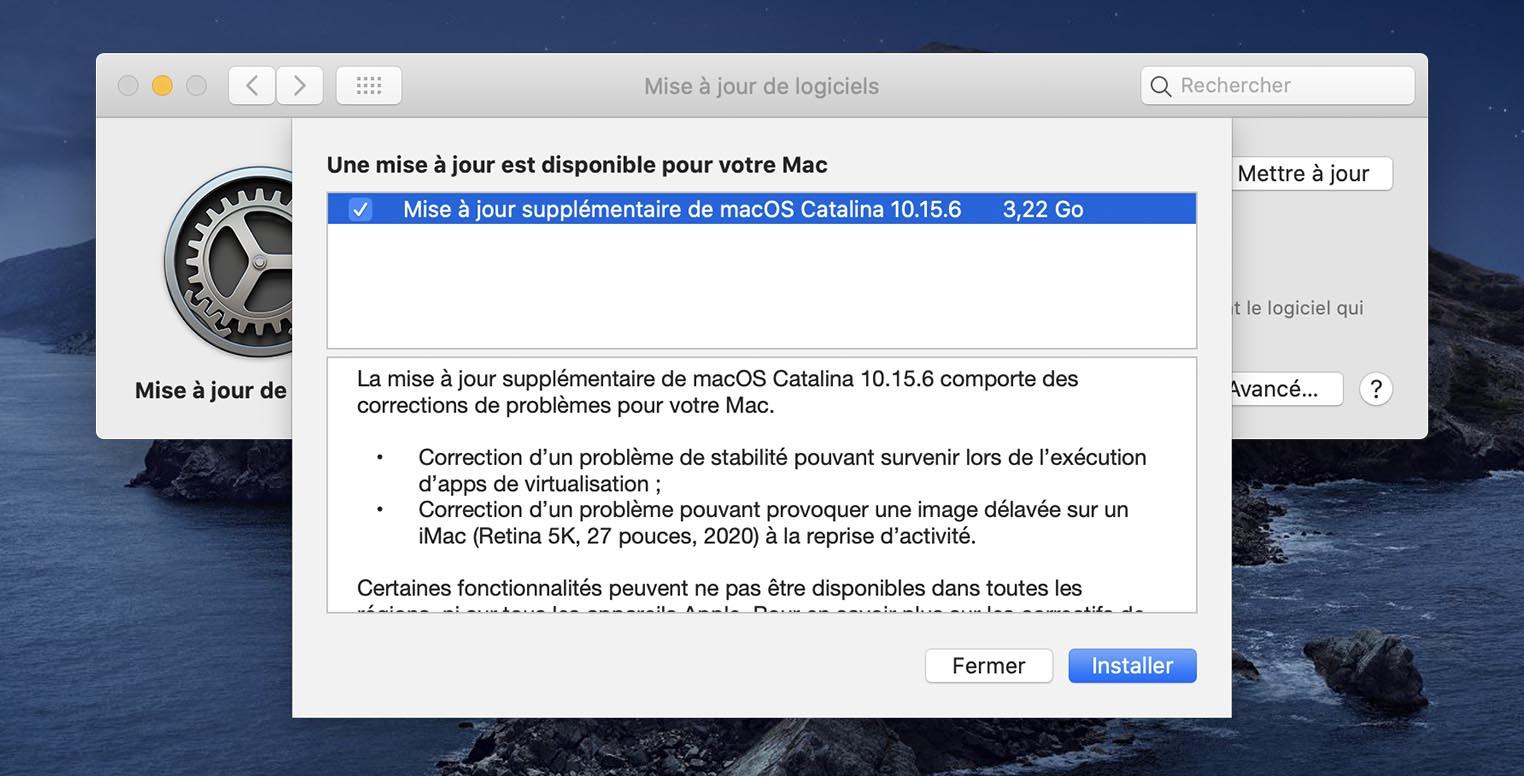 macOS 10.15.6 mise à jour supplémentaire