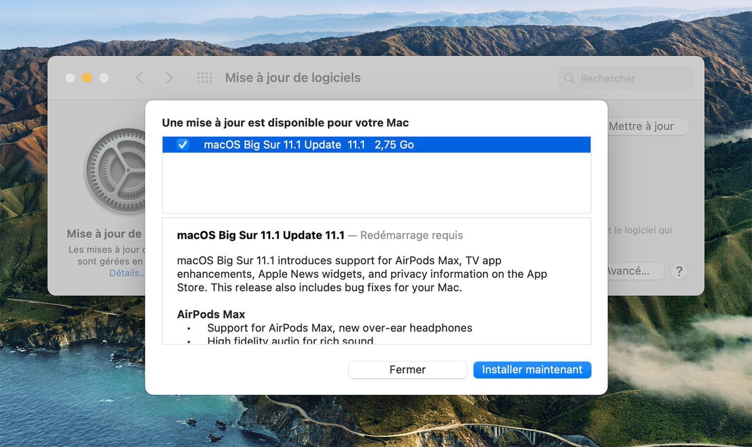 macOS 11.1 Mise à jour