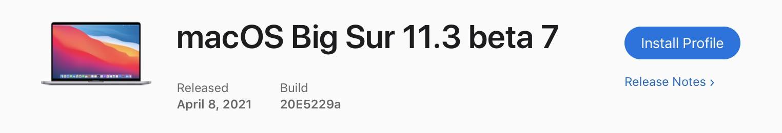 macOS 11.3 Bêta 7