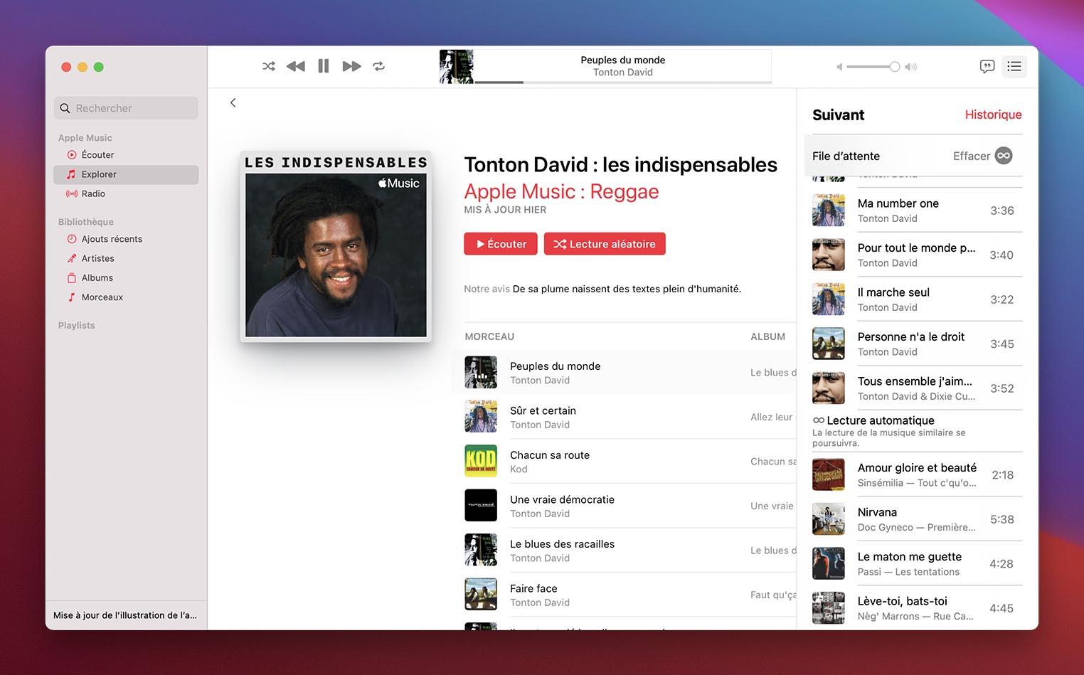 macOS 11.3 Apple Music lecture automatique