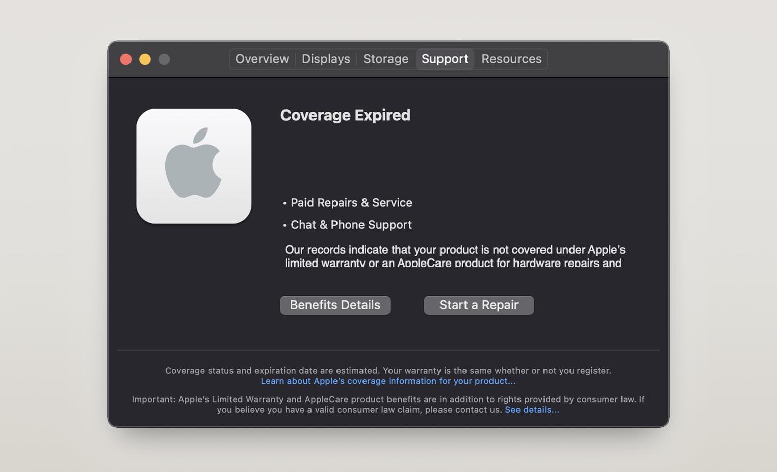 Panneau garantie macOS 11.3 bêta