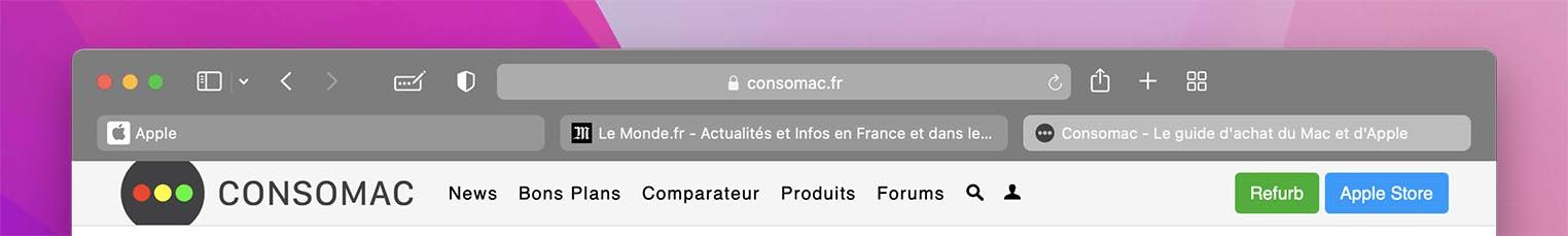 macOS 12 Bêta 3 Safari