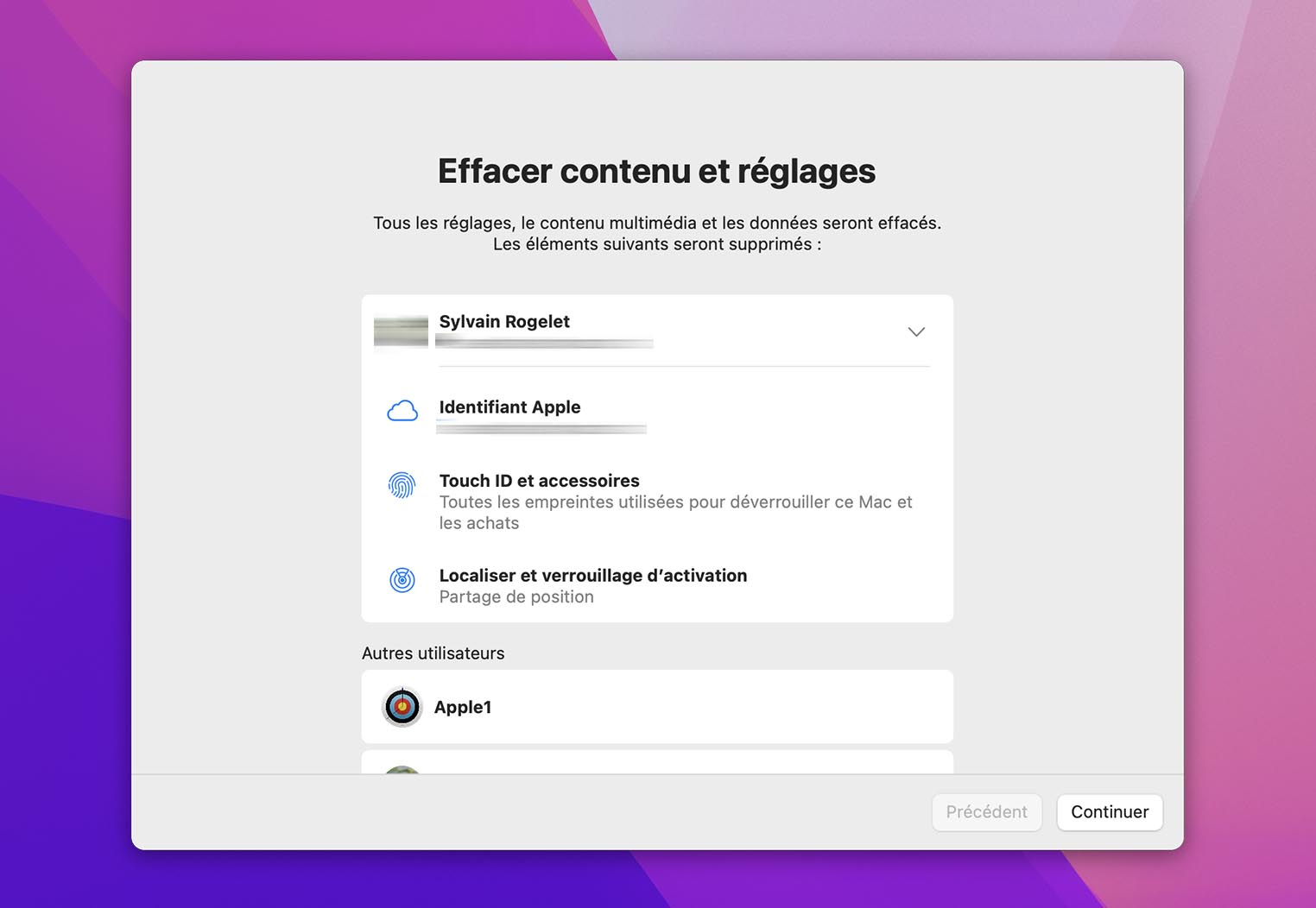 MacOS Monterey Erase Content and Settings