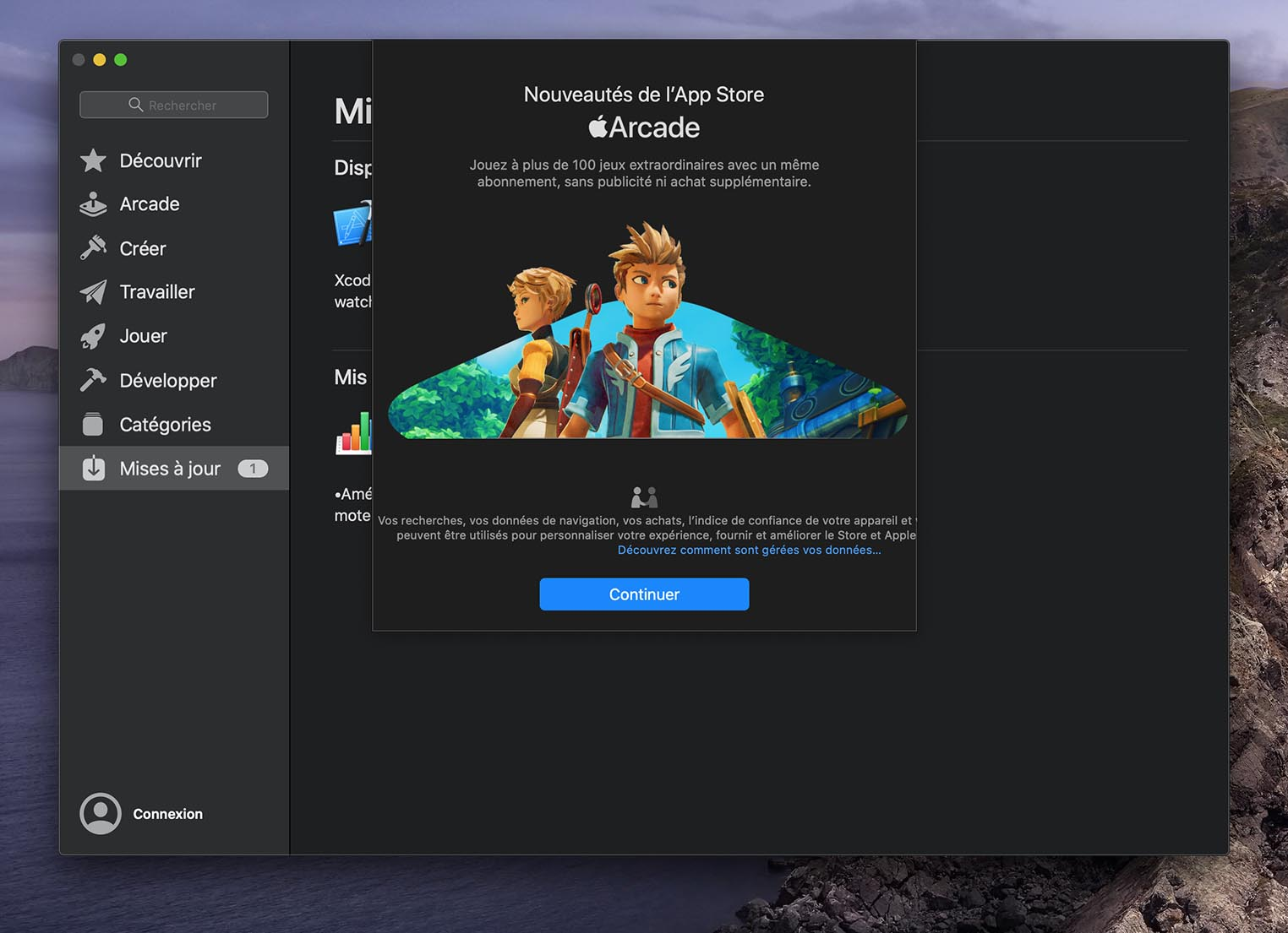 macOS Catalina Apple Arcade splashscreen