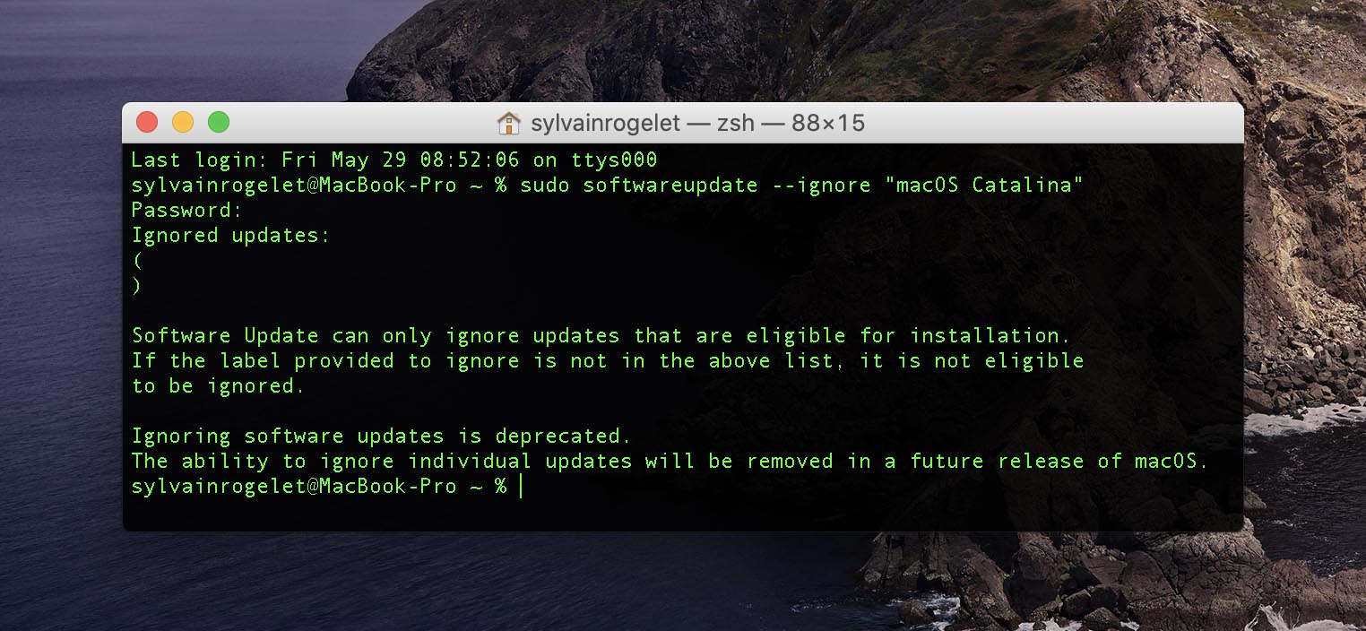 macOS 10.15.5 softwareupdate ignore